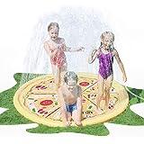 AirMyFun Pizza Sprinkle & Splash Play Mat, Fun Outdoor Party Sprinkler Toy for Kids, Splash Pad Sprinkler for Toddlers Playin