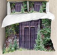 離れ家の羽毛布団カバーセットキングサイズ、ウッドランドのコテージ小屋のファームライフハウス木製ドアアートプリント、装飾的な3ピース寝具セット2枕シャムス、ダークブラウンとグリーン