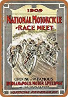 なまけ者雑貨屋 1909 National Motorcycle Race Indianapolis アンティーク風 デザインボード ブリキ看板 メタル (30×20cm)