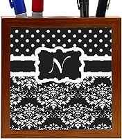 Rikki Knight Rikki Knight Initial N Black & White Damask Dots Design 5-Inch Tile Wooden Tile Pen Holder (RK-PH44482) [並行輸入品]