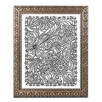 """""""フローラルファンタジー"""" by Kathy g. Ahrensアートワークwithゴールド装飾フレーム、11"""" x 14"""""""