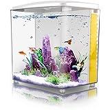FREESEA 1.4 Gallon Betta Aquarium Starter Kits Square Fish Tank with LED Light and Filter Pump