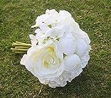 ノーブランド品 シルク製 ウェディング ブーケ バラ 造花 結婚式 花束 花嫁 豪華 フラワーガール ローズ 白い