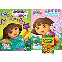 Dora the Explorer Jumbo Coloring and Activity Book with 64ページPlus Lets Playアクティビティブックand 24 ct Crayolaクレヨン – Plus Over 30 Stickers 。