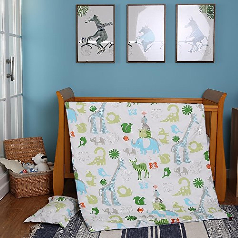 i-baby 動物プリント 赤ちゃん 寝具 4セット ?掛布団カバー120×150 cm? (1つの枕と1つのベッドカバー付き)