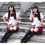 夏服 女子高生 制服 4点セット (ブラウス、ネクタイまたはリボンネクタイ、ワッペン、スカート) コスチューム チェック柄 男女共用 XXXLサイズ
