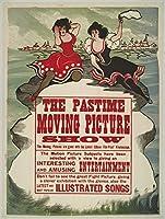 1913フォトThe Pastime Moving Picture Show広告ポスターのトーマス・エジソンのKinetoscope映画は、バックグラウンドで、Aボードウォーク表示on the Horizon ;フォアグラウンドで、2つWomen Are Perche