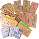 16枚 メッセージカード グリーティングカード 18 10cm 封筒付き 誕生日 おしゃれ 切り抜き 色纸 シール付き バースデーカード ギフトカード (18 10cm 16枚)