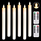 Homemory 6 PCS LED Flameless Taper Candles Flickering With Moving Wicks, Real Wax Window Candles Battery Operated With Automa