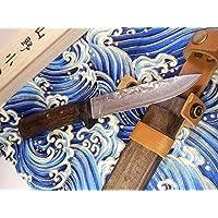 サブゼロ処理V金10号 VG10 ステンレスダマスカス割り込み剣鉈 12cm ベルト通し付き木鞘・ウコン布・桐箱付 / 和式ナイフ