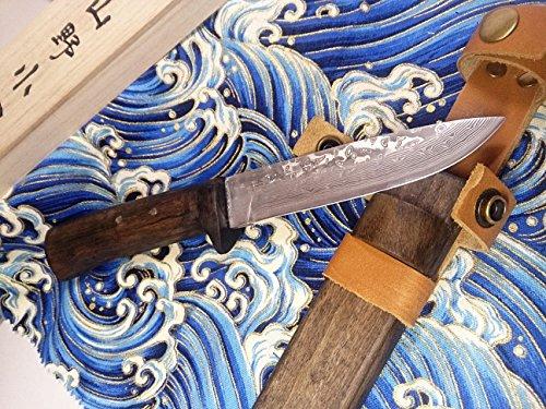 サブゼロ処理V金10号 VG10 ステンレスダマスカス割り込み剣鉈 12cm ベルト通し付き木鞘・ウコン布・桐箱付/和式ナイフ