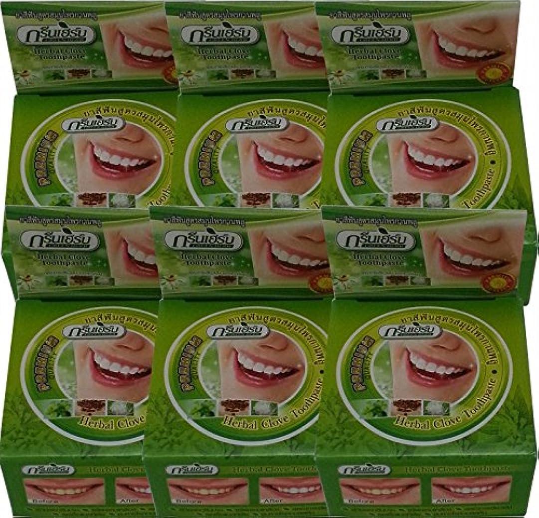 バッフル少ない待ってGreen Herb Thai Herbal Clove Toothpaste Whitening Teeth Anti Bacteria 25g