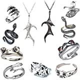 11 Pcs Vintage Frog Rings Set Devil Wings Pendant Necklae for Couples,Prince Frog Open Adjustable Octopus Cat Animal Lucky Hu