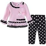 Mud Kingdom Cute Baby Girl Outfits Pink Shirts and Pants Sets Bird