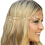 Missgrace HMetal Chain Jewelry Headband Head Hair Band Tassels Pearl