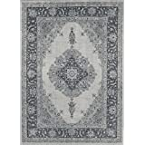 RUGGABLE Washable Indoor/Outdoor Stain Resistant Area Rug 2pc Set (Cover and Pad) Parisa Grey (152 x 213cm)