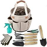 Scuddles Garden Tools Set - 9 Piece Heavy Duty Gardening Tools with Storage Organizer, Ergonomic Hand Digging Weeder, Rake, S