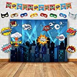 Glittery Garden Superhero Cityscape Photography Backdrop Studio Props Flags And Mask Diy Kit Great As Super Hero City Photo Booth Background Birthday Party And Event Decorations
