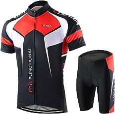 Lixada 半袖 サイクルジャージ 上下セット 男性用 高弾性 吸汗速乾 通気がいい サイクルウェア サイクリングウェア スポーツウェア サイズ選択可