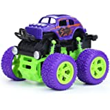 Pull Cars Toys, 1-Packs Truck Toys, Four-Wheel Drive Inertia Car Toys, Truck Double-Sided Friction Powered Vehicles Flips for