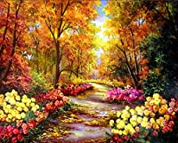 Wincy Shop Autumn Trees Landscape Oil Painting Diy Oil Painting Paint by Number Kits for Home Decor