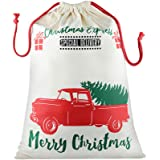 Blank Personalized Santa Sack Large Christmas Presents Sacks Bags with Drawstring Xmas Gift Decorations (Beige, Cart)
