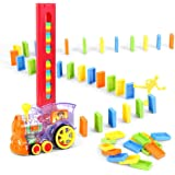 80 Pcs Domino Train Blocks Rally Electric Toy Set, Train Model with Lights and Sounds Construction and Stacking Toys, Set Sui