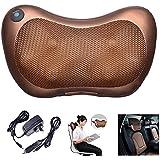 Yescom Electric Shiatsu Massage Pillow Cushion Heated Kneading Neck Back Massager Home Car Office Use Brown