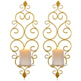 Sziqiqi Iron Wall Candle Sconce Holder Set of 2 Hanging Wall Mounted Pillar Candle Sconces Holder, Wall Sconces Decor for Bed