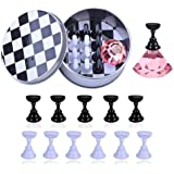 Kalolary 1 Set Nail Art Holder Practice Stand for Nail Art Display, Magnetic Nail Stand Tips Holders Crystal Holder Chessboar