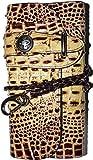 圧倒的な存在感!粋な牛革クロコダイル型押しバイカーズ長財布 [ MOMO 4501 ] 誕生日プレゼント メンズ財布 (ブラウン)