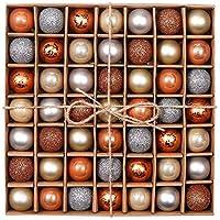 Valery Madelyn エレガント クリスマス オーナメント ボール 49個入り おしゃれ シルバー メタリックゴールド シック クリスマス 飾り デコレーション 装飾 サイズ 3cm