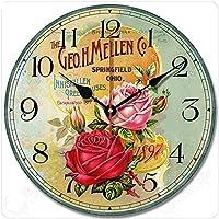 HYLH 壁掛け時計12インチ/アンティーク風装飾時計低雑音時計モダンスタイルシンプル木製壁掛け時計ライト18