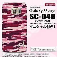 SC04G スマホケース Galaxy S6 edge カバー ギャラクシー S6 エッジ イニシャル 迷彩B ピンクB nk-sc04g-1163ini M