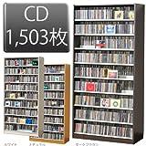 1503枚収納 CD屋さんのCD/DVDラック 収納力2倍の前後棚仕様 幅89cm インデックスプレート20枚付き (ダークブラウン D)