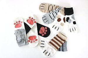 袜子女士脚踝长度猫喜欢你难以抗拒肉球也非常可爱鸣短袜10双装运动鞋高帮短袜