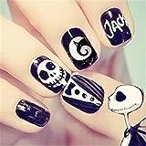 24Pcs/Set Halloween False Nails Black White Skull with Design Fake Nails Full Cover Short Nail Tips Press on Nails with Adhes