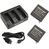 Newmowa AZ16-1 Replacement Battery (2-Pack) and 3-Channel USB Charger for Xiaomi YI AZ16-1 and Xiaomi Yi 4K Action Camera …
