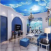 Weaeo 写真の壁紙雲空の青と白のインテリア天井トップロビーのリビングルームの会議の3D壁紙-280X200Cm