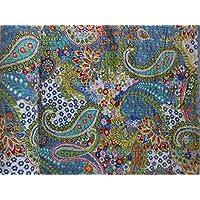 Elegant Designs ハンドメイド ペイズリー柄 カンタキルト ツインサイズ カンタ寝具 インド綿ベッドカバー ボヘミアンカンタスロー 花柄ベッドカバー