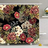 浴室用シャワーカーテンEsパターン花ブーケ水彩植物ネイチャーフローラル蘭夏白ヴィンテージカラー防水ポリエステルファブリックセットフック付き 165X180 CM