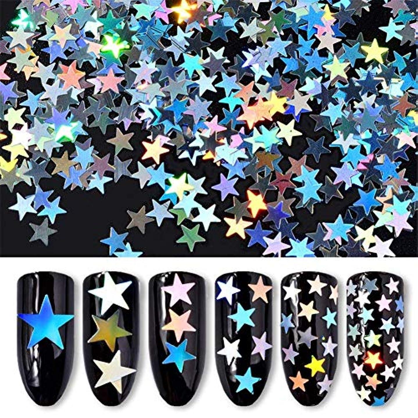非難するウィンク夕食を食べる6ボックス/セット 星 スター ホログラム キラキラ 反射カメレオン ネイルパーツネイルアートネイルデコ