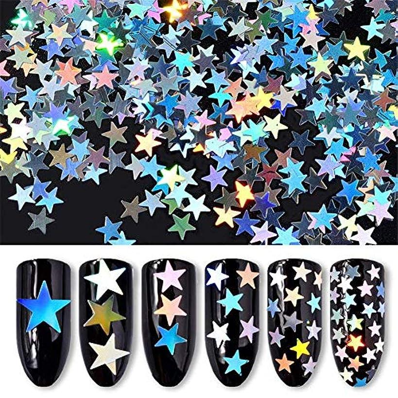 サンダース解放するピザ6ボックス/セット 星 スター ホログラム キラキラ 反射カメレオン ネイルパーツネイルアートネイルデコ