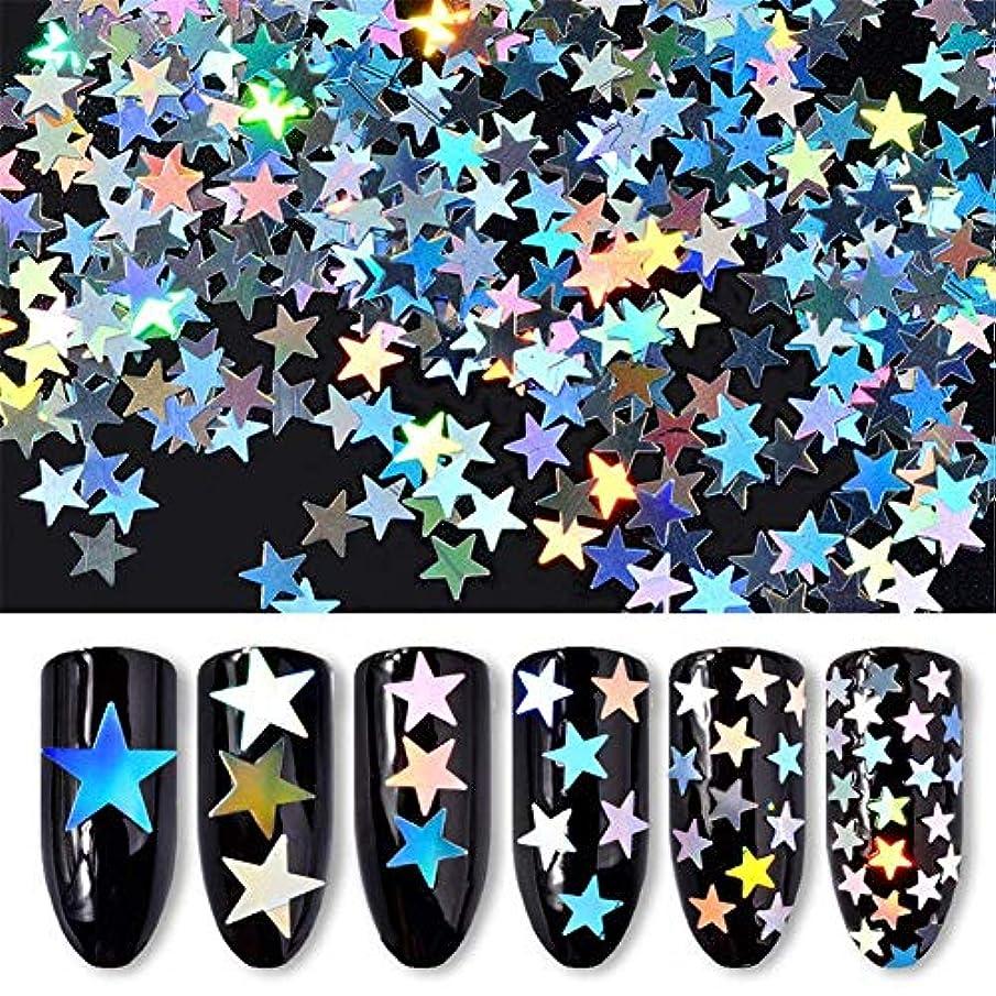 間隔日付の慈悲で6ボックス/セット 星 スター ホログラム キラキラ 反射カメレオン ネイルパーツネイルアートネイルデコ