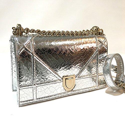 (ディオール) Dior DIORAMA ディオラマ スモールフラップバッグ チェーンショルダー ショルダーバッグ クロコプリントレザー レディース 未使用 中古