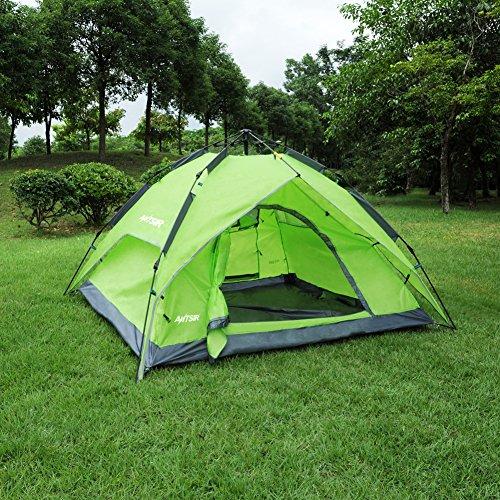 ANTSIR ワンタッチテント 3~4人用 設営簡単 ワンタッチで簡単 防災用 2WAY テント 撥水加工 キャンプ用品 紫外線防止 登山 折りたたみ 防水 通気性 アウトドア 3色選択可能 (グリーン)