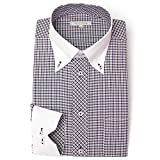 DRESS CODE 101 【スリム】 クレリック ボタンダウン ドレスシャツ 襟高デザイン 長袖ワイシャツ 白 メンズ 長袖 ワイシャツ Yシャツ SHIRT-4007-S