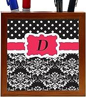 Rikki Knight Rikki Knight Initial D Pink Black Damask Dots Design 5-Inch Tile Wooden Tile Pen Holder (RK-PH44398) [並行輸入品]