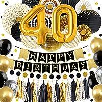 NICROLANDEE グリッター ブラックとゴールド 誕生日パーティーデコレーション ティッシュペーパーファン ハンギングペーパーランタン タッセルガーランド 30歳 40歳 50歳 60歳 誕生日 記念日 装飾 パーティー用品 2-x-12-Inch マルチカラー NLUS20190326002