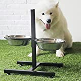 【Momugs Akira】ペット用品 大型犬 用 皿 フード スタンド &ボウル セット 食事 給水 給餌 ご飯入れ物 水 おやつ 小動物 高度調節できる ステンレス